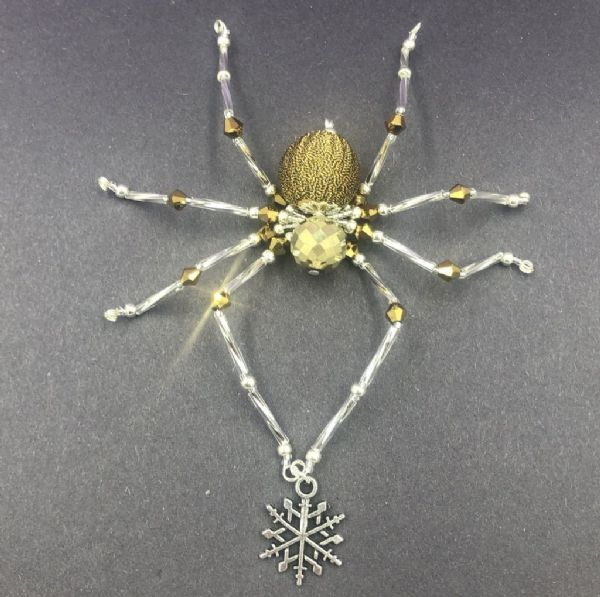 Christmas beaded spider kit - Gold / silver spd001